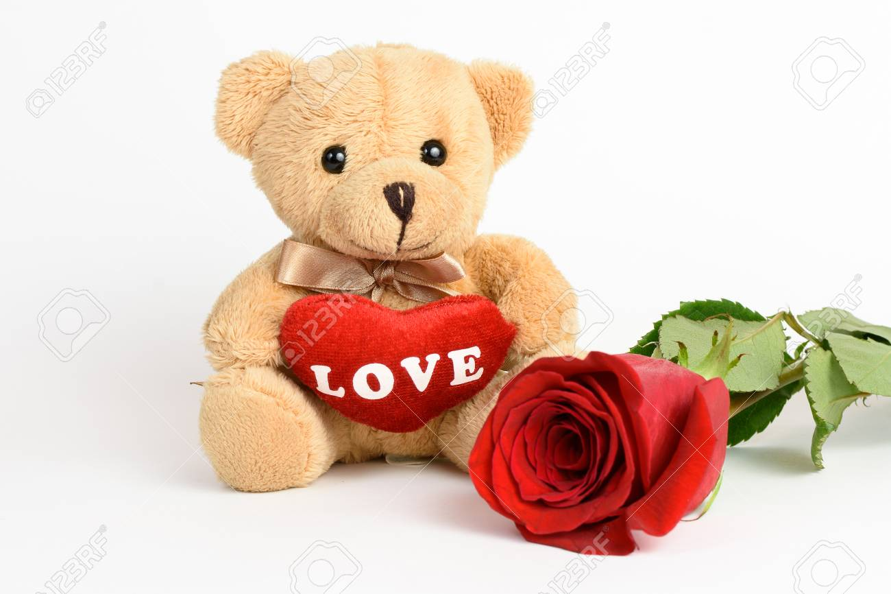Teddy Bear And Rose For Valentines Day Stock Photo, Picture And ...