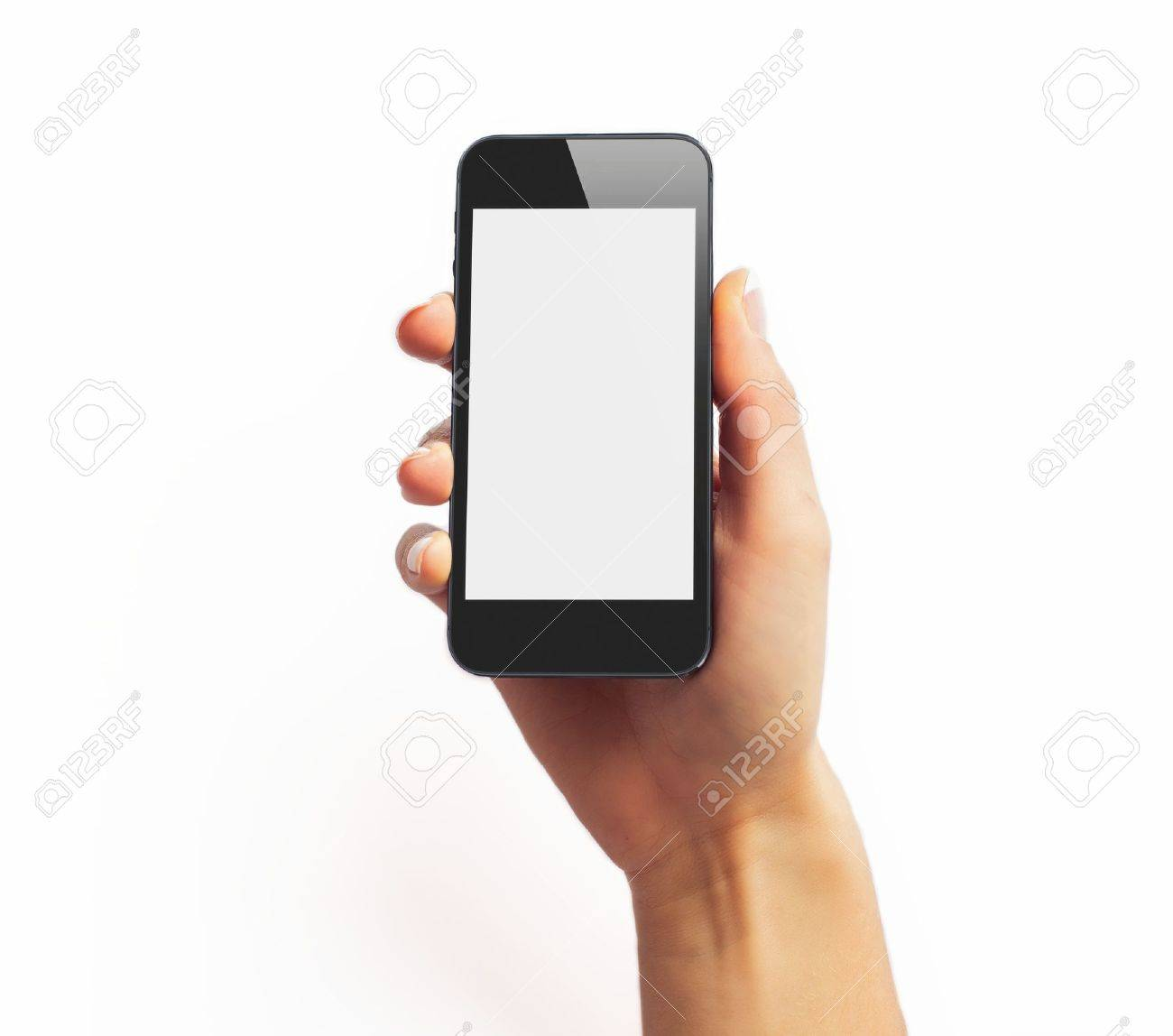 Black smartphone in hand with empty screen Stock Photo - 17243379