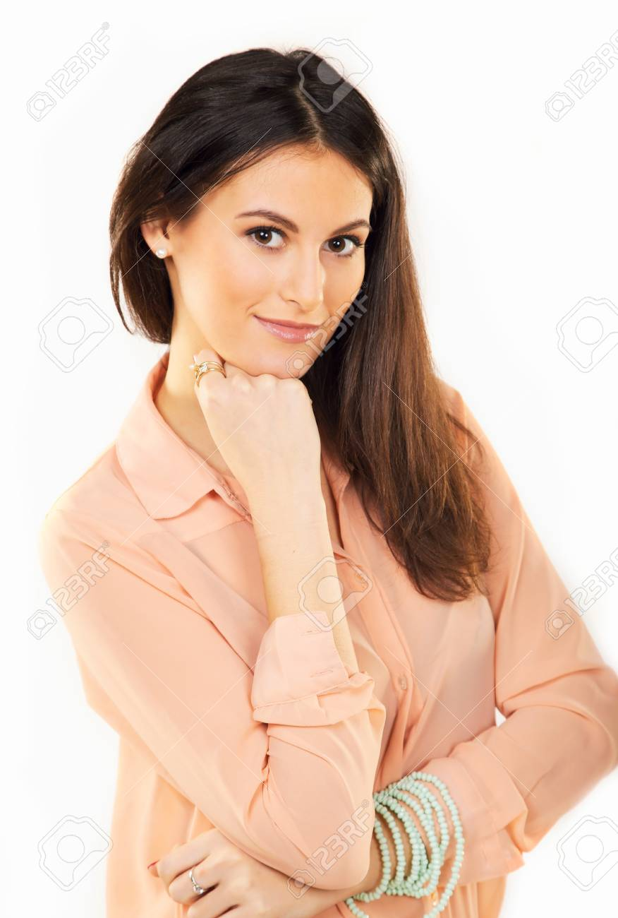 Portrait of a beautiful brunette inside a studio Stock Photo - 18816238