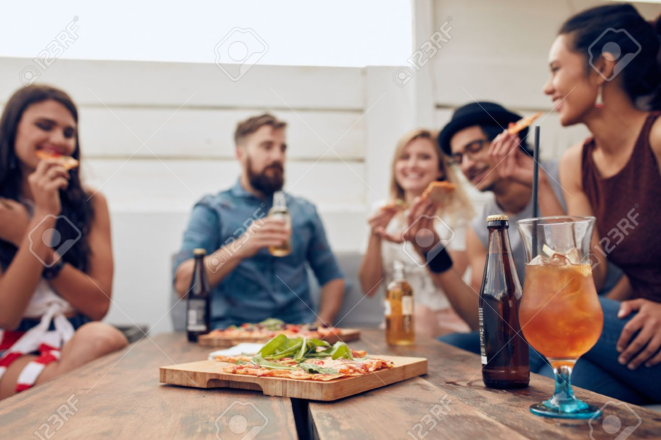 50431715 Beer Image Stock Group Free Royalty Photo Picture Friends Image Pizza Enjoying Multi-ethnic And Party In Of