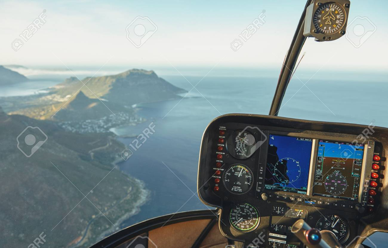 Vue Aérienne D\'un Poste De Pilotage D\'hélicoptère Survolant La Ville ...