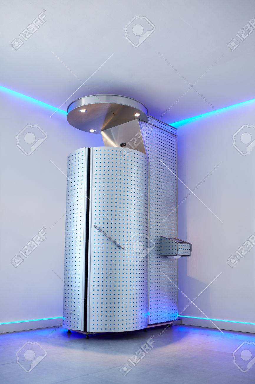 Cryotherapy capsule in cosmetology clinic  Cryo sauna for whole