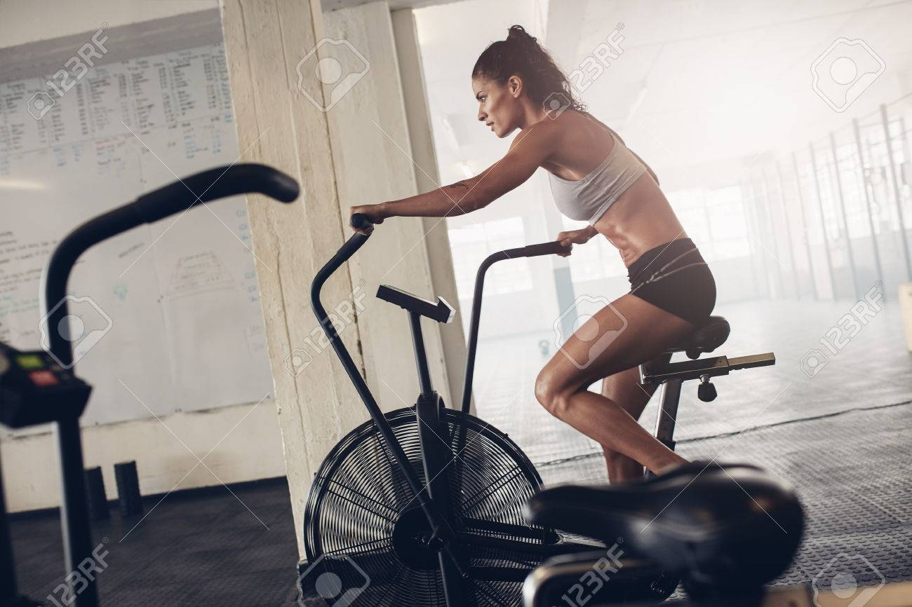 Fit Young Woman Using Exercise Bike At The Gym. Fitness Female.. Stock  Photo, Picture And Royalty Free Image. Image 58555057.
