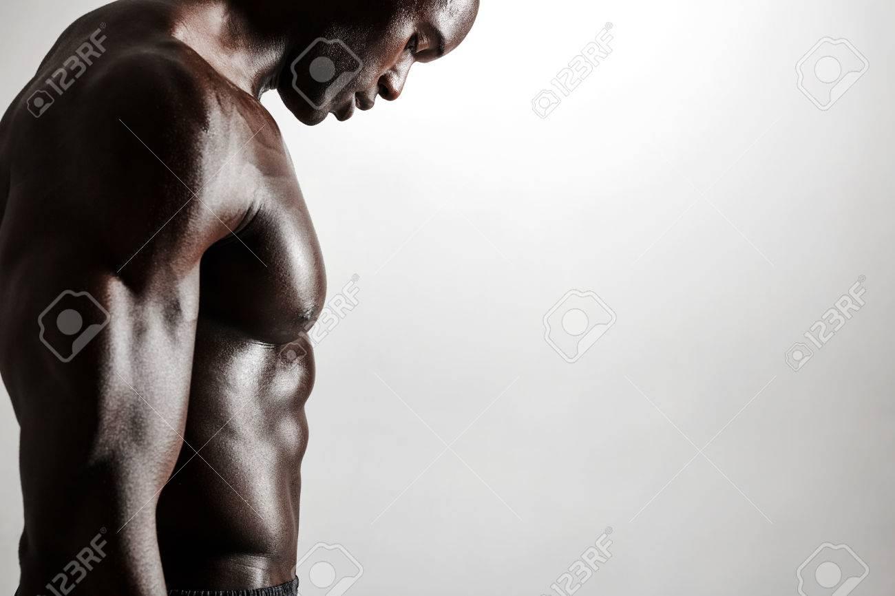Seitenansicht Abgeschnitten Schuss Von Muskulösen Jungen Mann Mit ...
