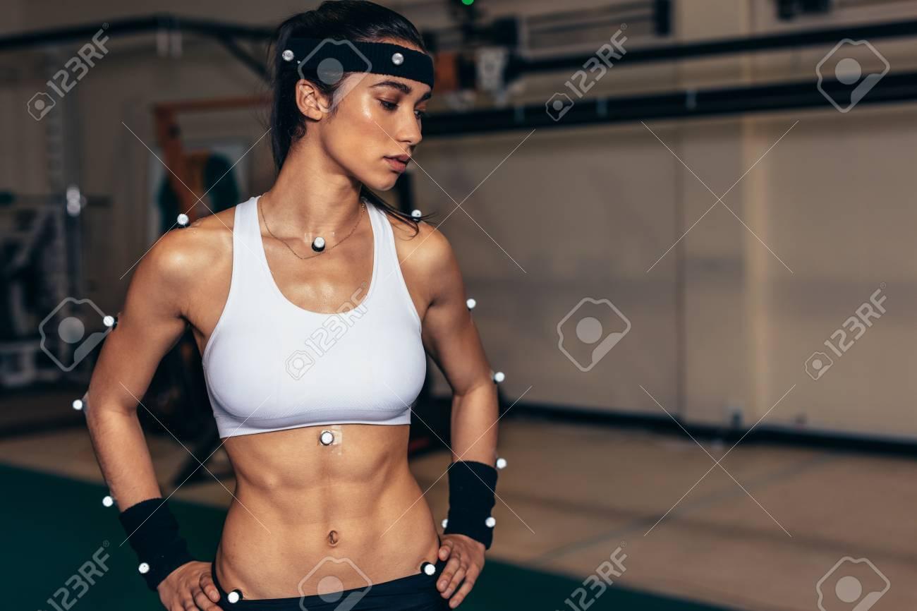 Biomechanics lab  Female athlete with motion capture sensors