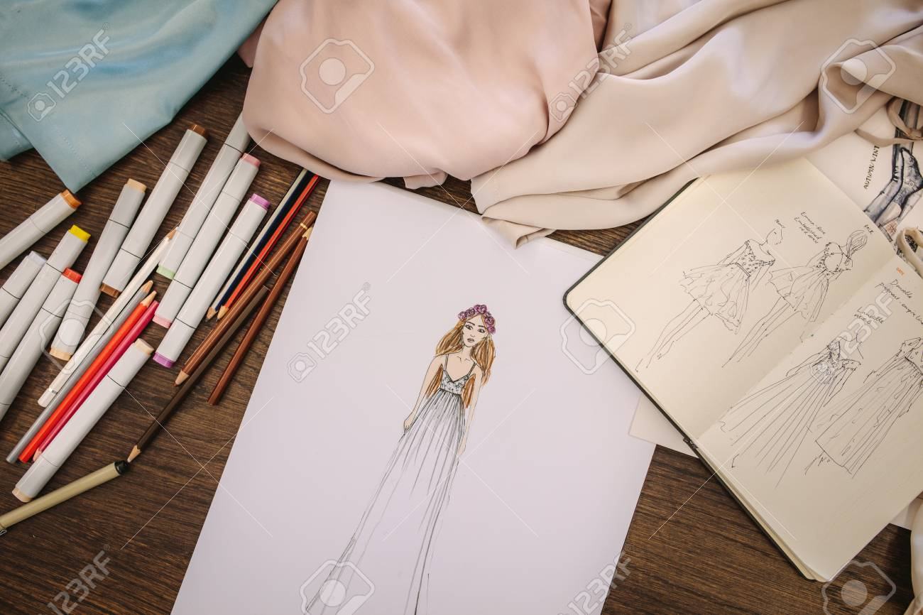 Fashion Design Sketches Dress Materials And Drawing Pens On Stock Photo Picture And Royalty Free Image Image 95448031