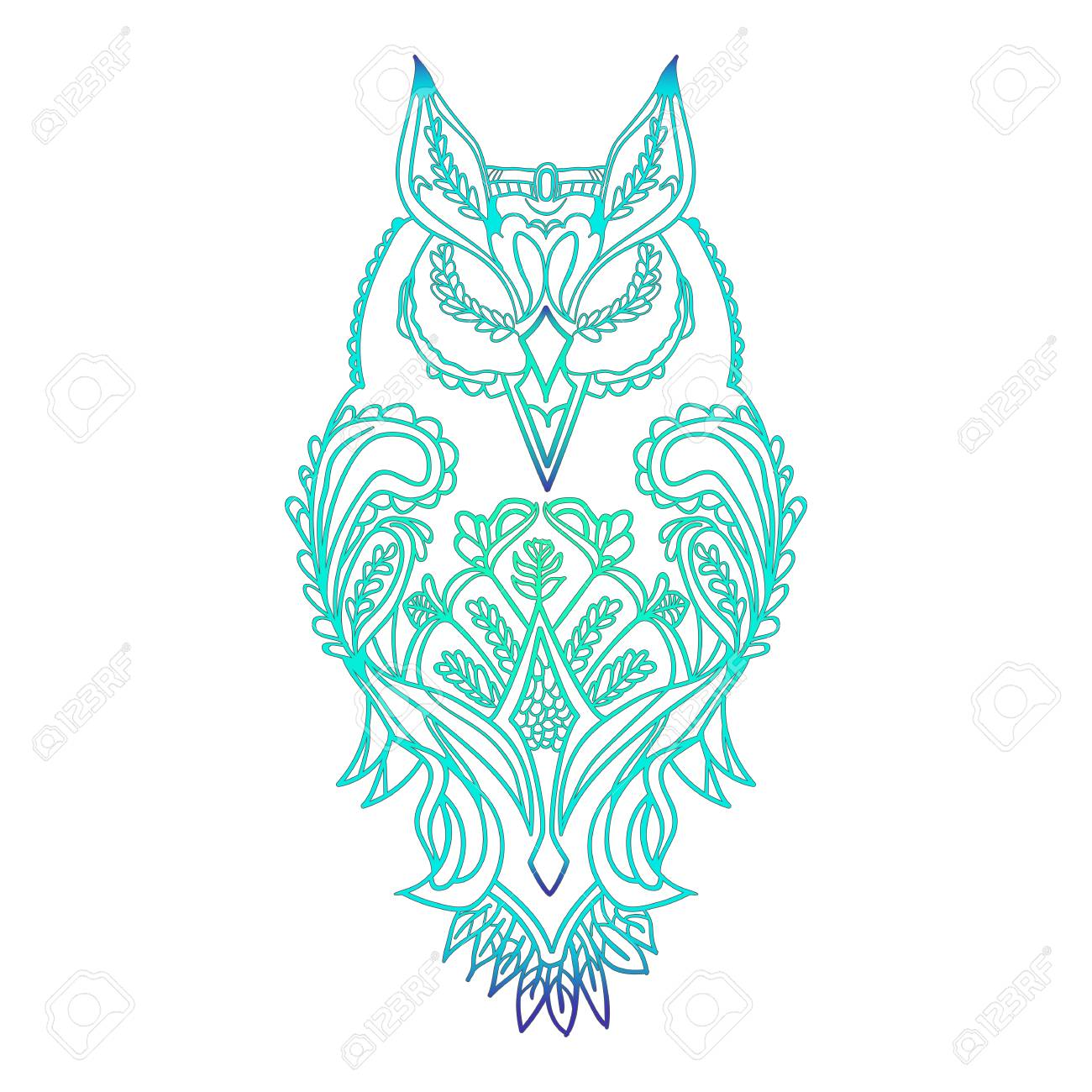 Coloring Pages Owl High Detailed Isolated On White Background ...