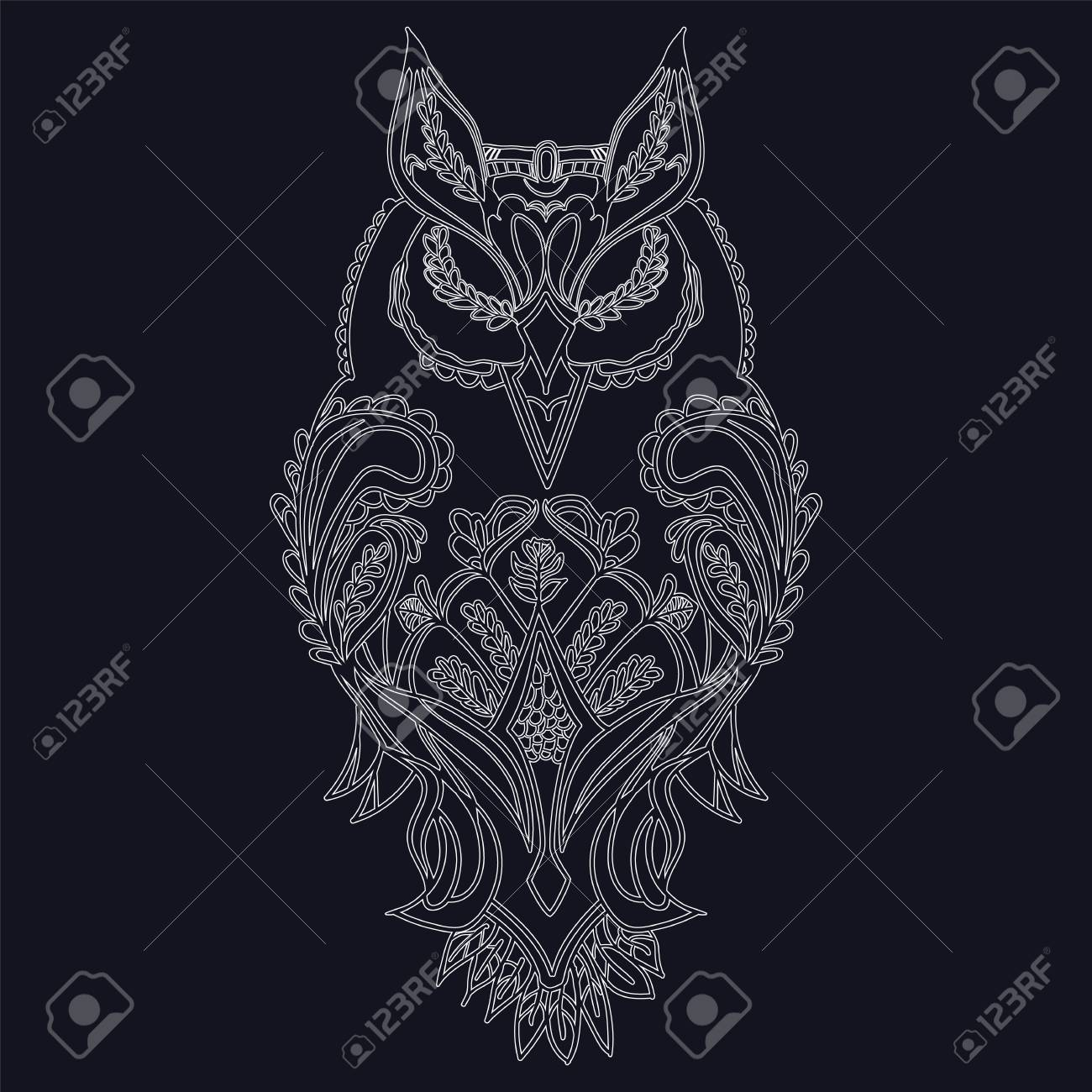 Coloring Pages Owl High Detailed Isolated On Black Background