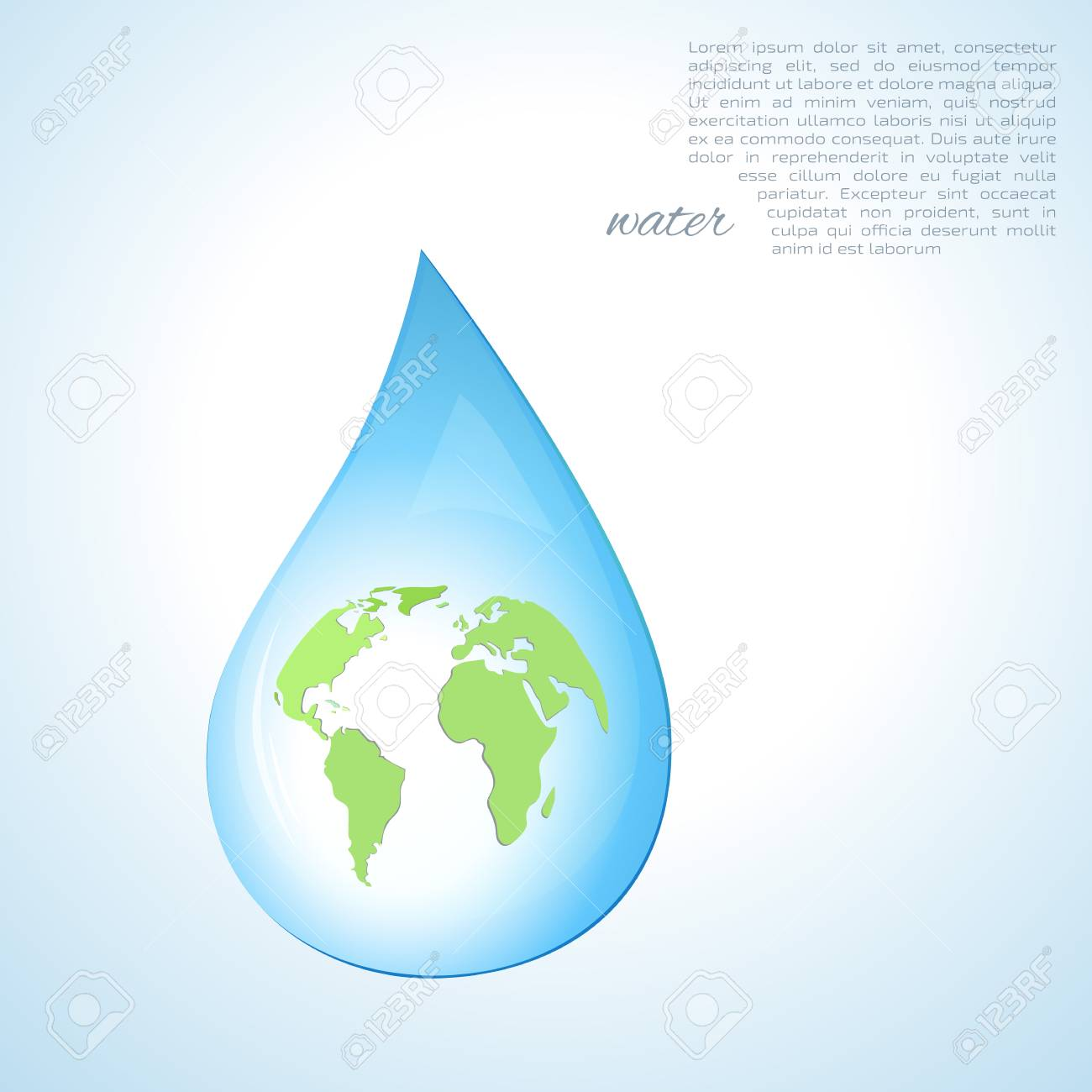 World map in a water drop environmental symbol royalty free vector world map in a water drop environmental symbol gumiabroncs Gallery