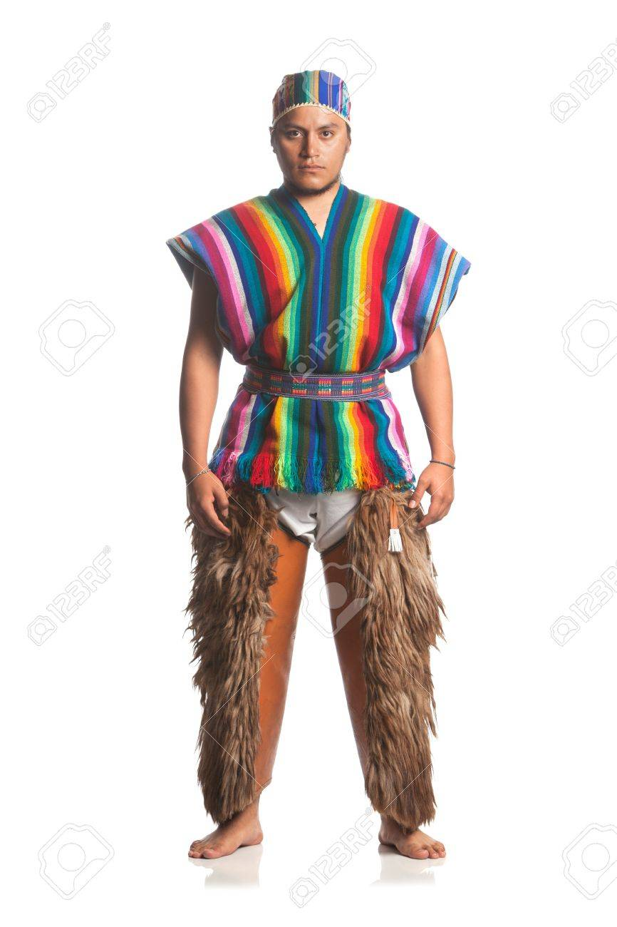 ecuadorian dancer dressed up in traditional costume from the