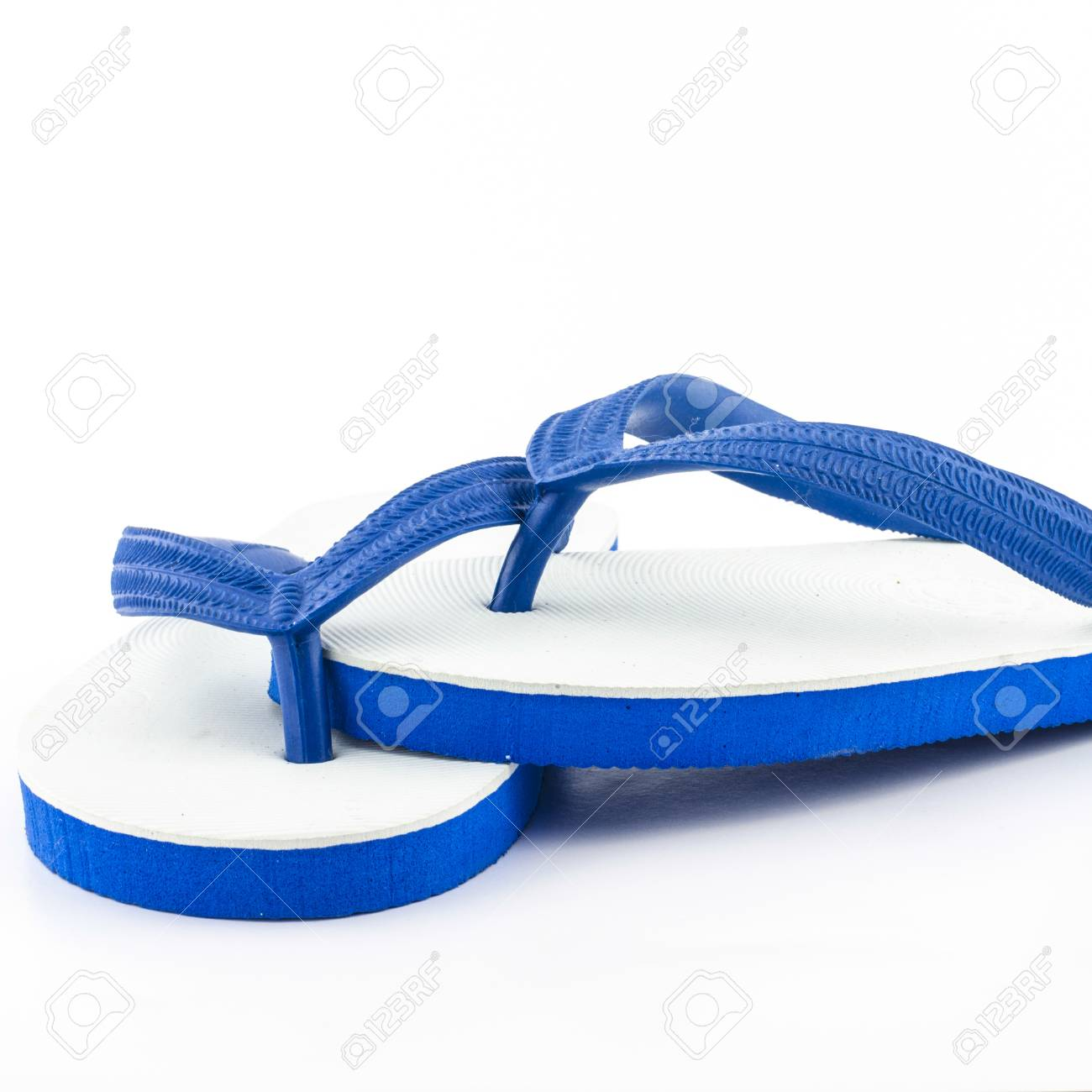 f62e7f4cd White Blue Slippers Isolated On White Background Stock Photo ...