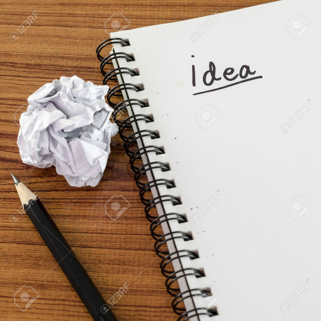 Crumpled Paper And Pencil With Notebook Write Idea Word On Wood – Notebook Paper Background for Word