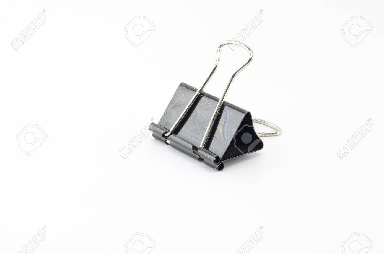 black paper clip isolated on white background stock photo picture