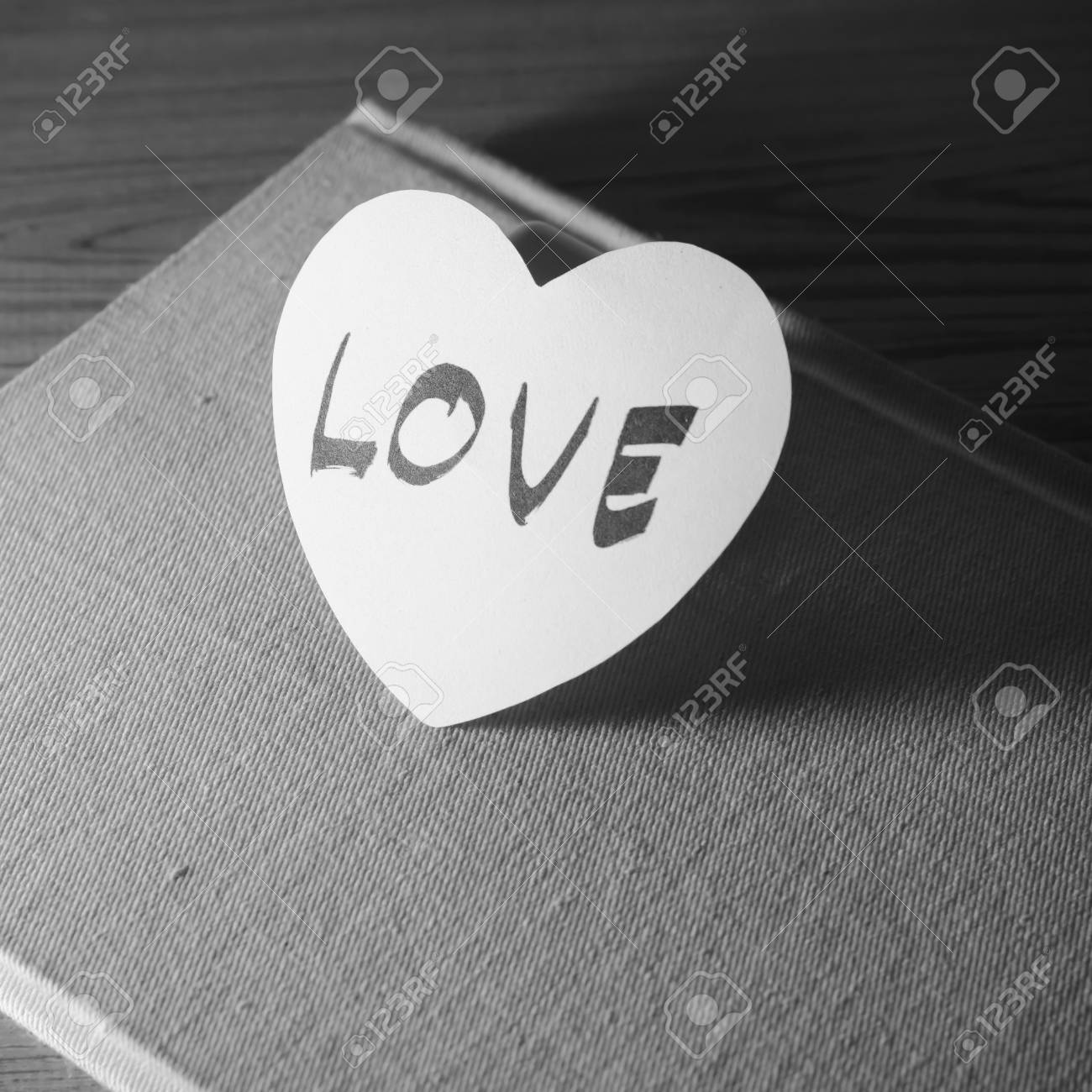 Black And White Paper Heart Write Love Word Stock Photo