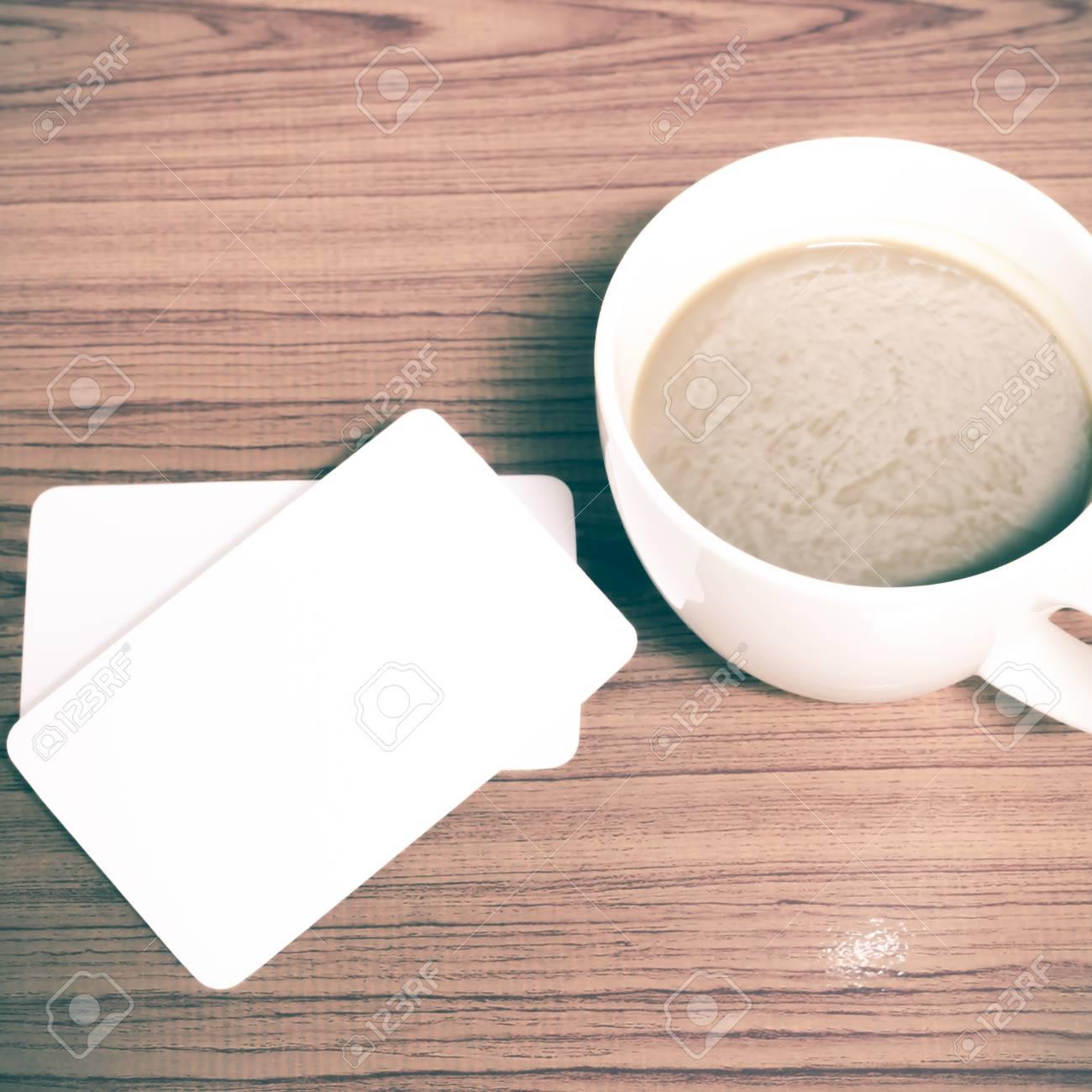Kaffeetasse Und Visitenkarte Auf Holz Hintergrund Vintage Stil