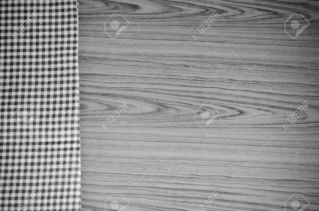 Braun Küchentuch Muster Auf Holz Hintergrund Schwarz Und Weiß