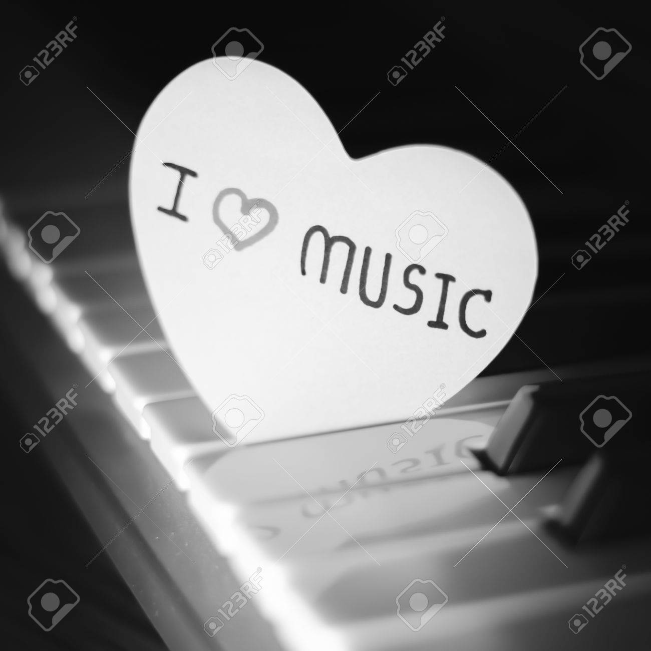 Heart On Key Piano Say Love Music Black And White Color Tone Style Stock Photo