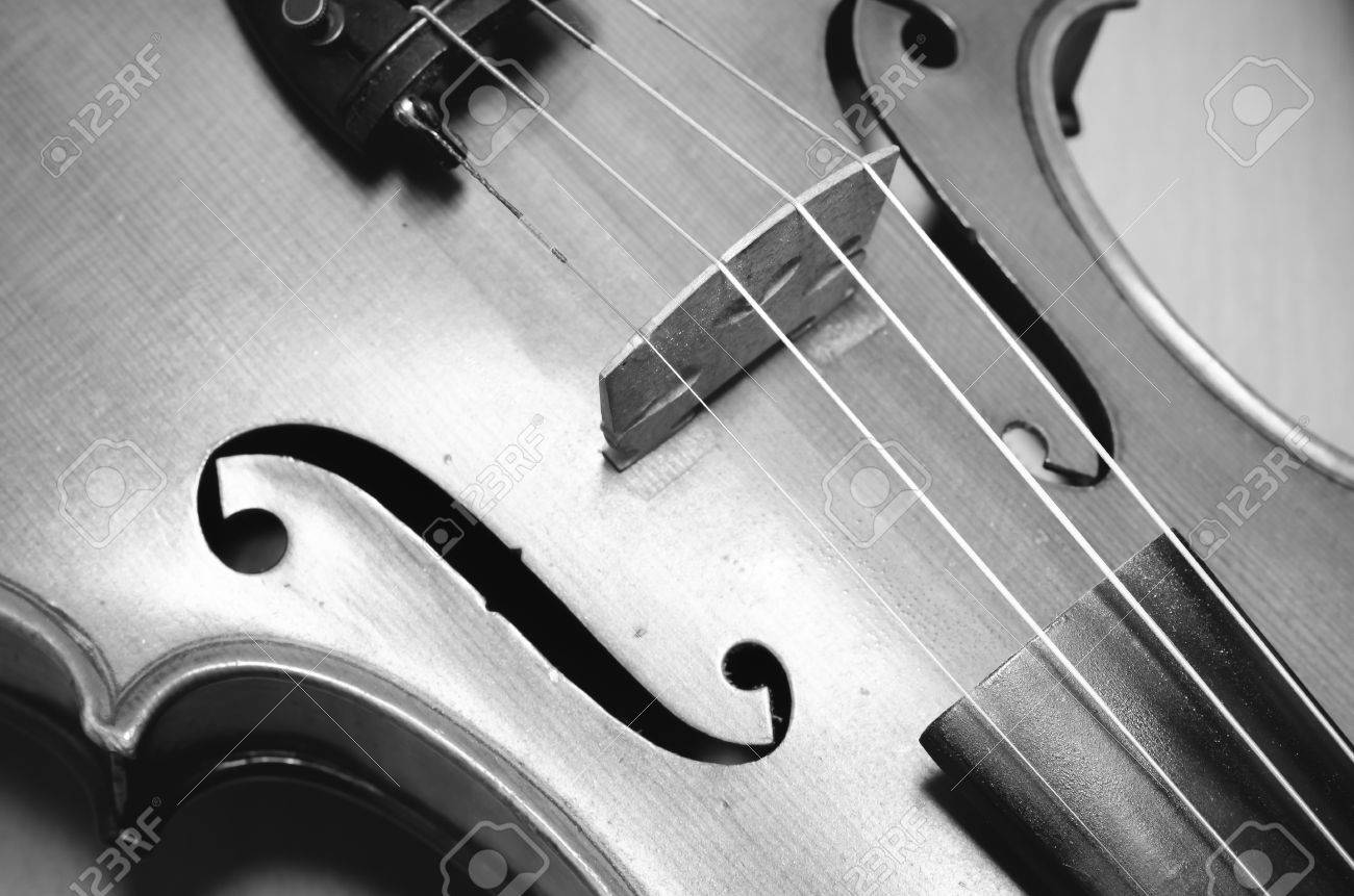 Single Soft Brown Violin With Wallpaper Black And White Color Tone Style Stock Photo