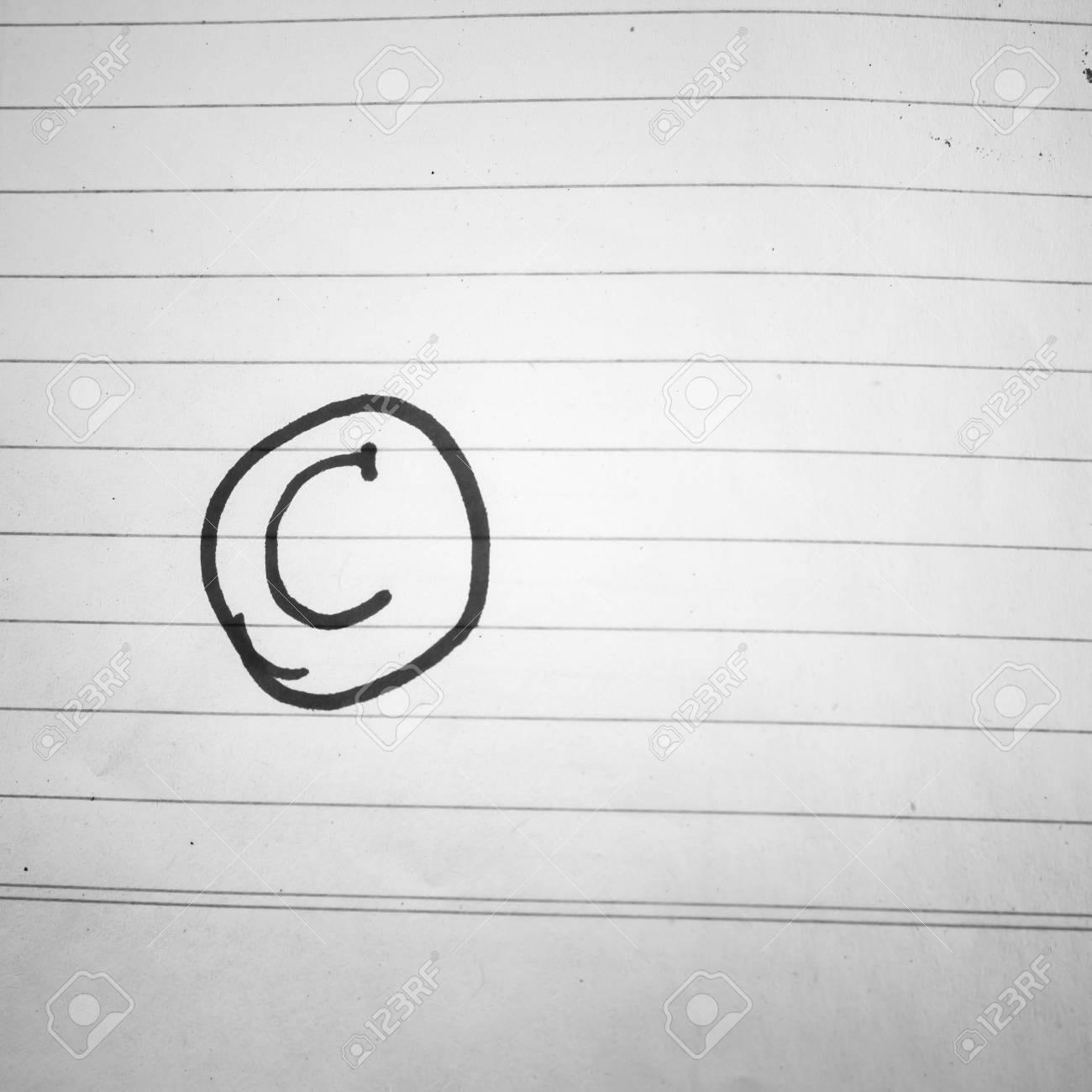 Klasse C Auf Linie Papier Schwarz-Weiß-Farbton Stil Lizenzfreie ...