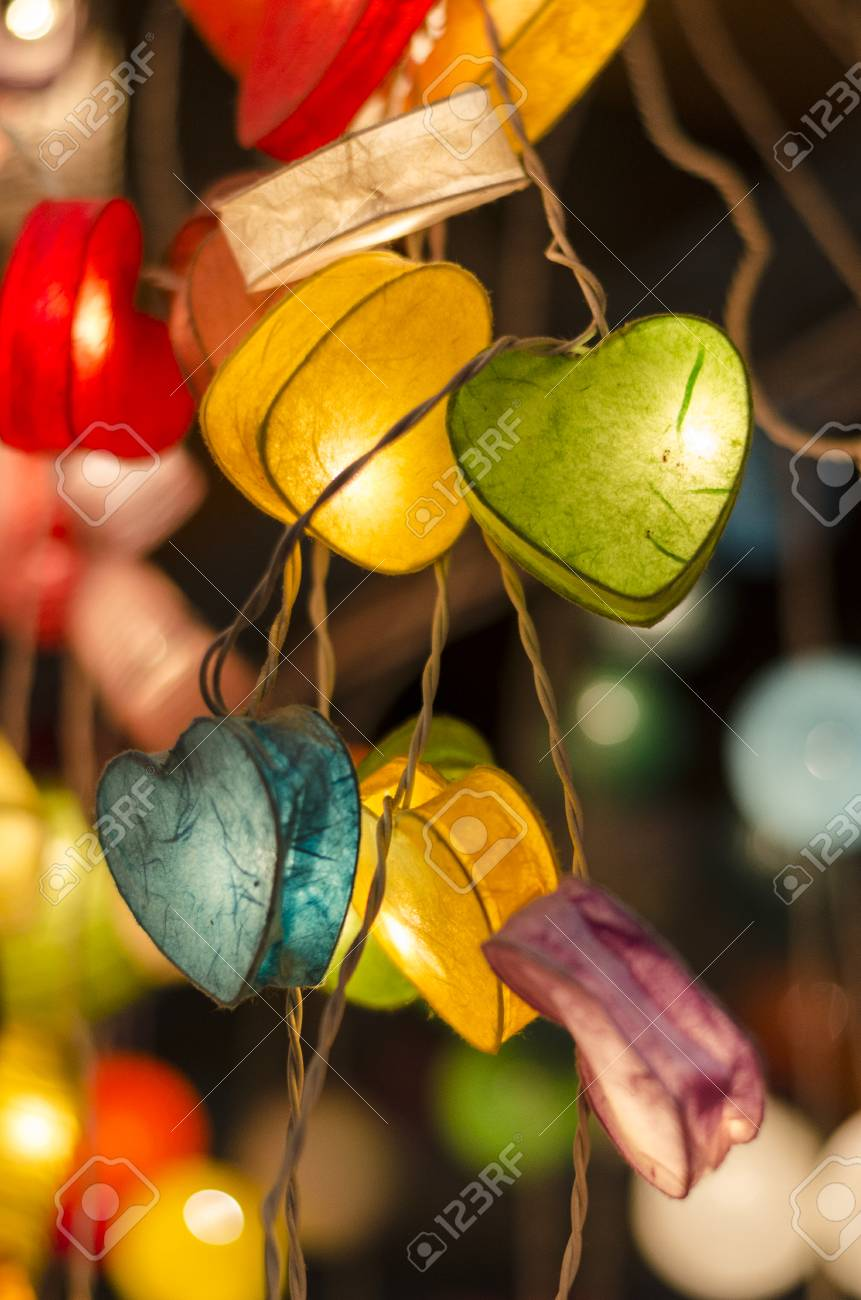 Heart Paper Lantern And Light Lamp Stock Photo, Picture And Royalty ... for Paper Lantern Photography  303mzq