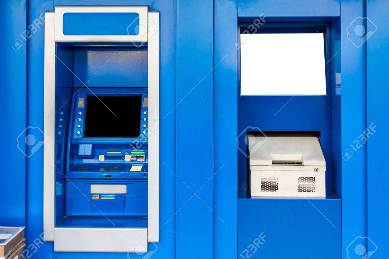 青現金自動預け払い機 ATM や通帳更新 の写真素材・画像素材 Image ...