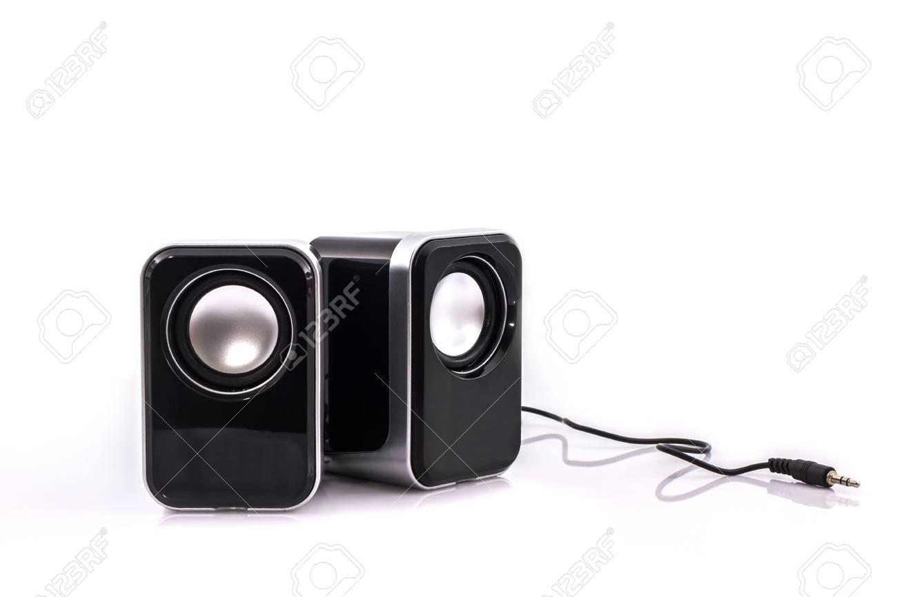Kleine Computer Lautsprecher Auf Weißem Hintergrund Lizenzfreie