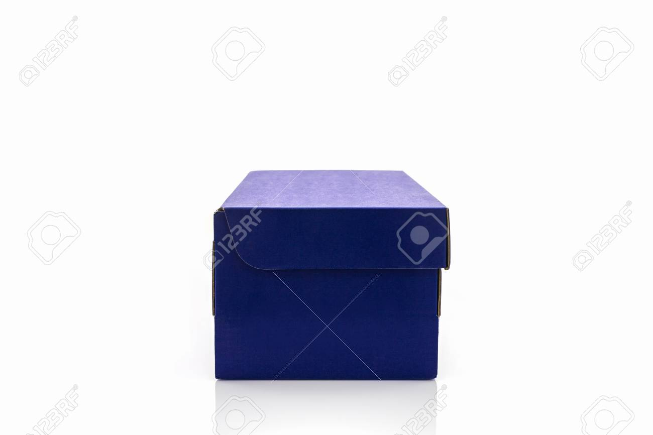 blue shoe box on white background paper box for shoes electronic