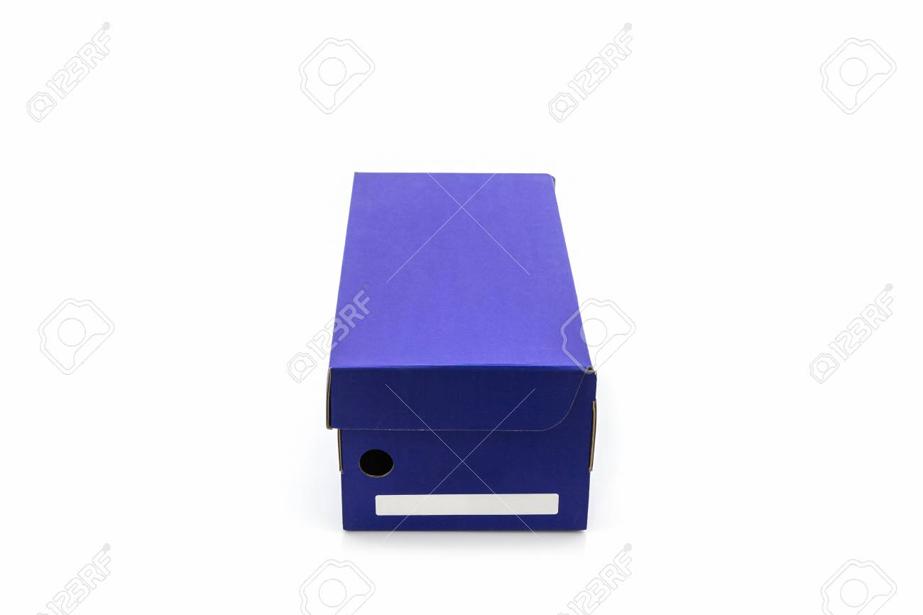 blue shoe box with clipping path on white background paper box