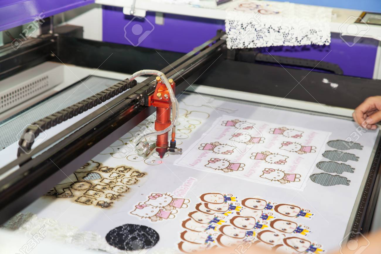 BANGKOK - JUNE 28 Laser cutting on fabric at Garment Manufacturers