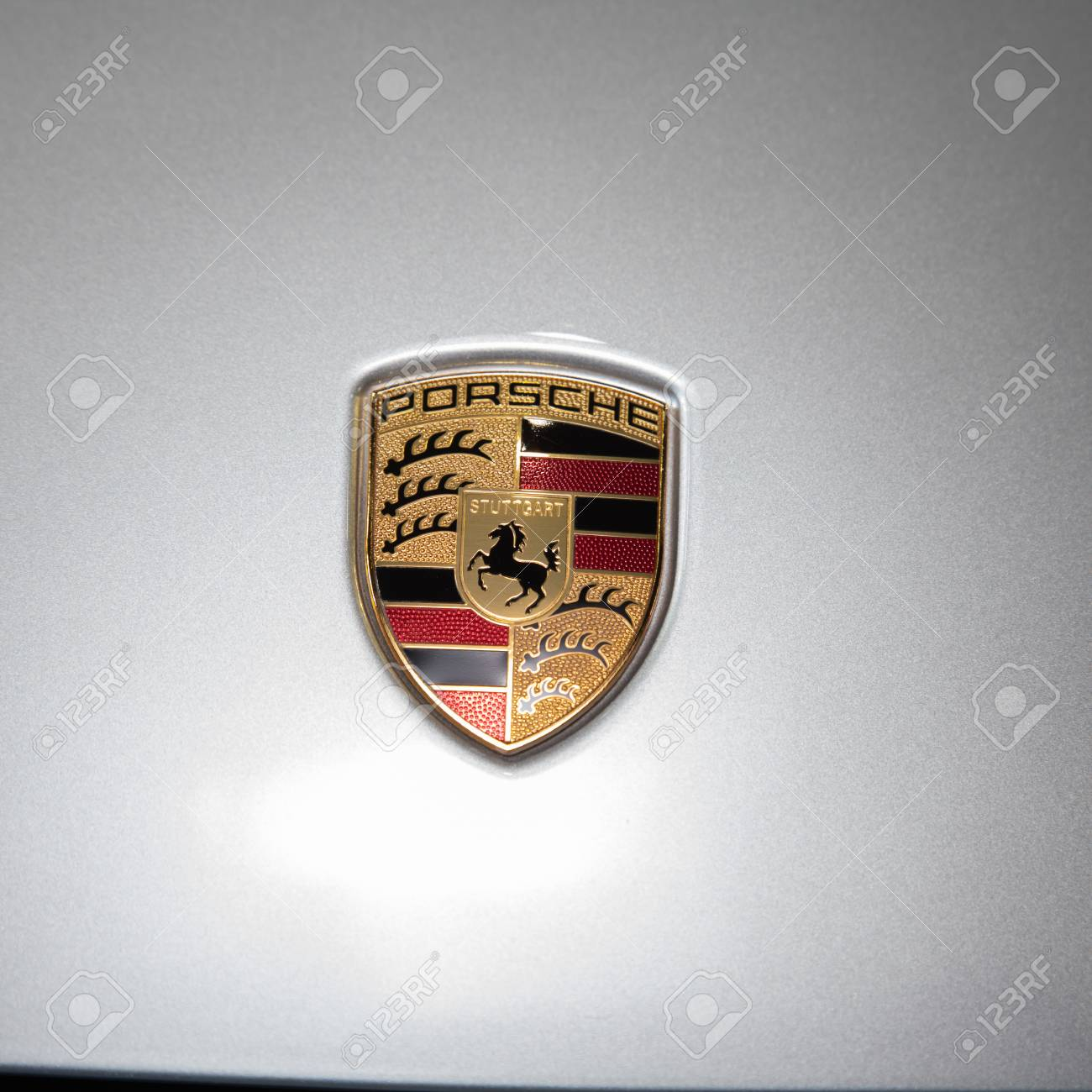 Bangkok August 16 Porsche Logo Display At Big Motor Sale 2014 Stock Photo Picture And Royalty Free Image Image 30919222