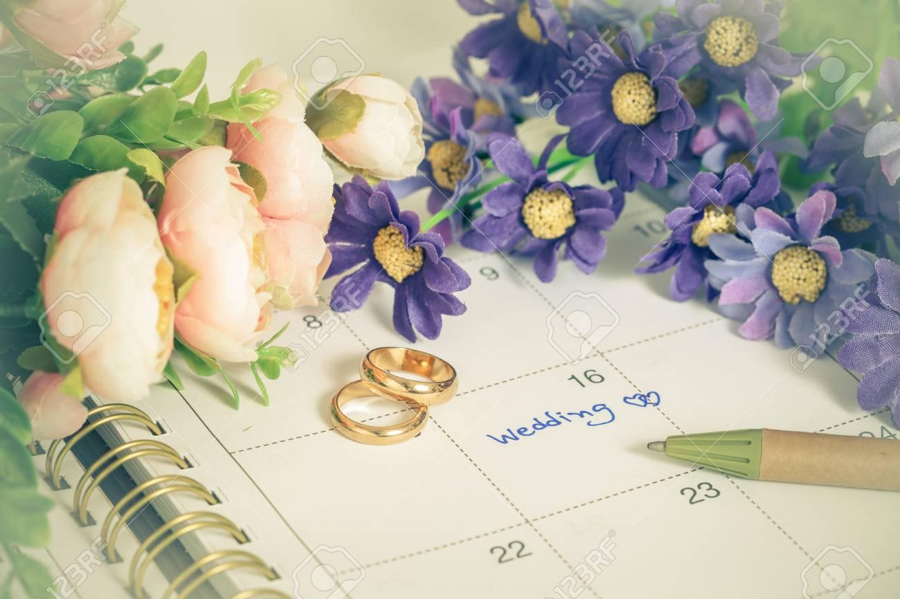 Imposta Calendario.Nota Di Nozze Su Un Calendario Imposta Un Promemoria Per Il Giorno Del Matrimonio