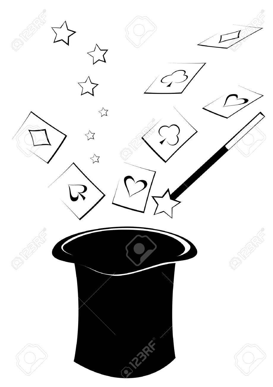 Drawing wizarding hat and flying cards - 12821618