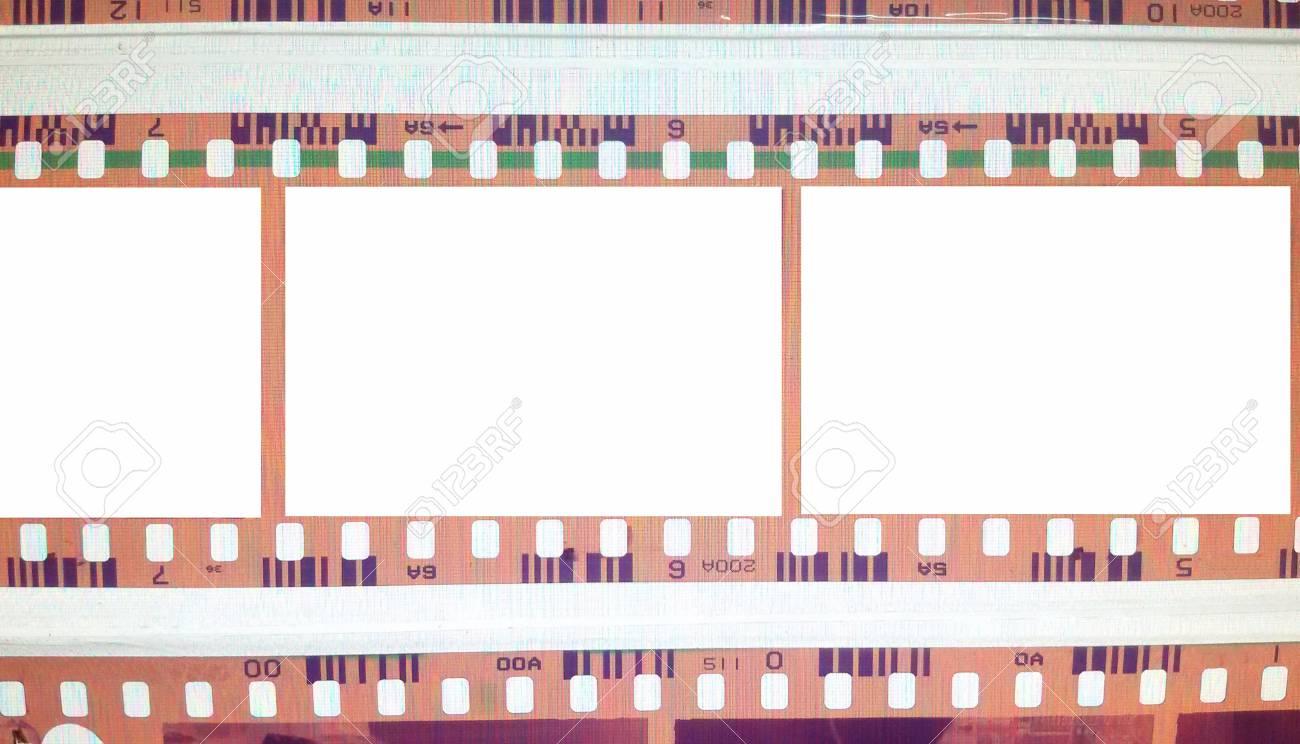 Vintage Background With Film Flame. Blank Old Grunge Film Strip ...
