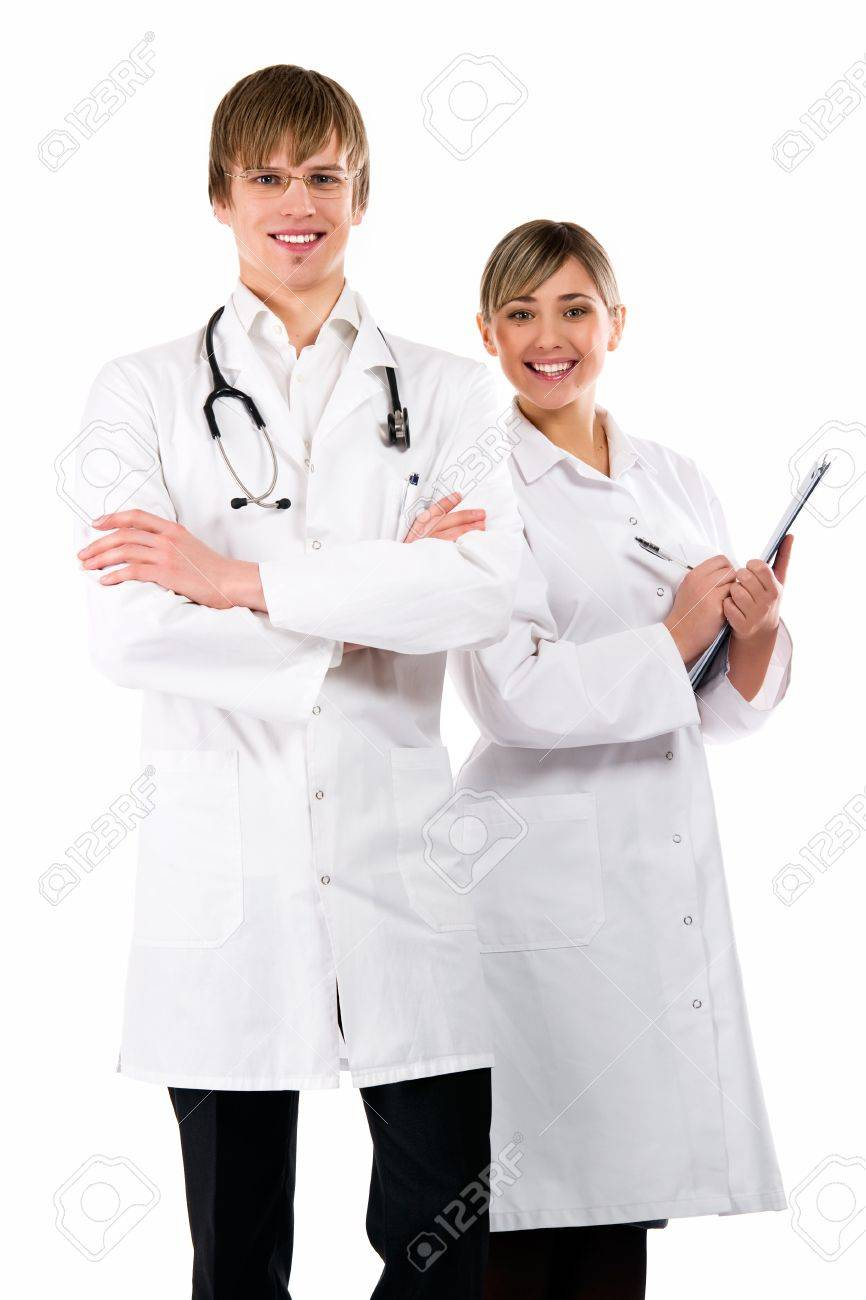 Medical team of doctors, woman and man, isolated on white background Stock Photo - 8896865