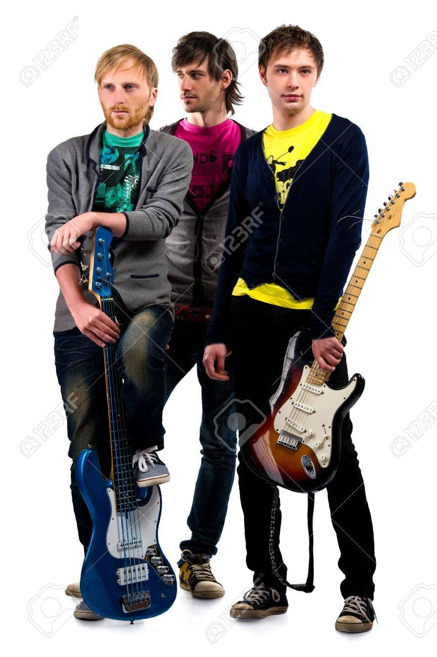Musical group posing over white background Stock Photo - 8975250