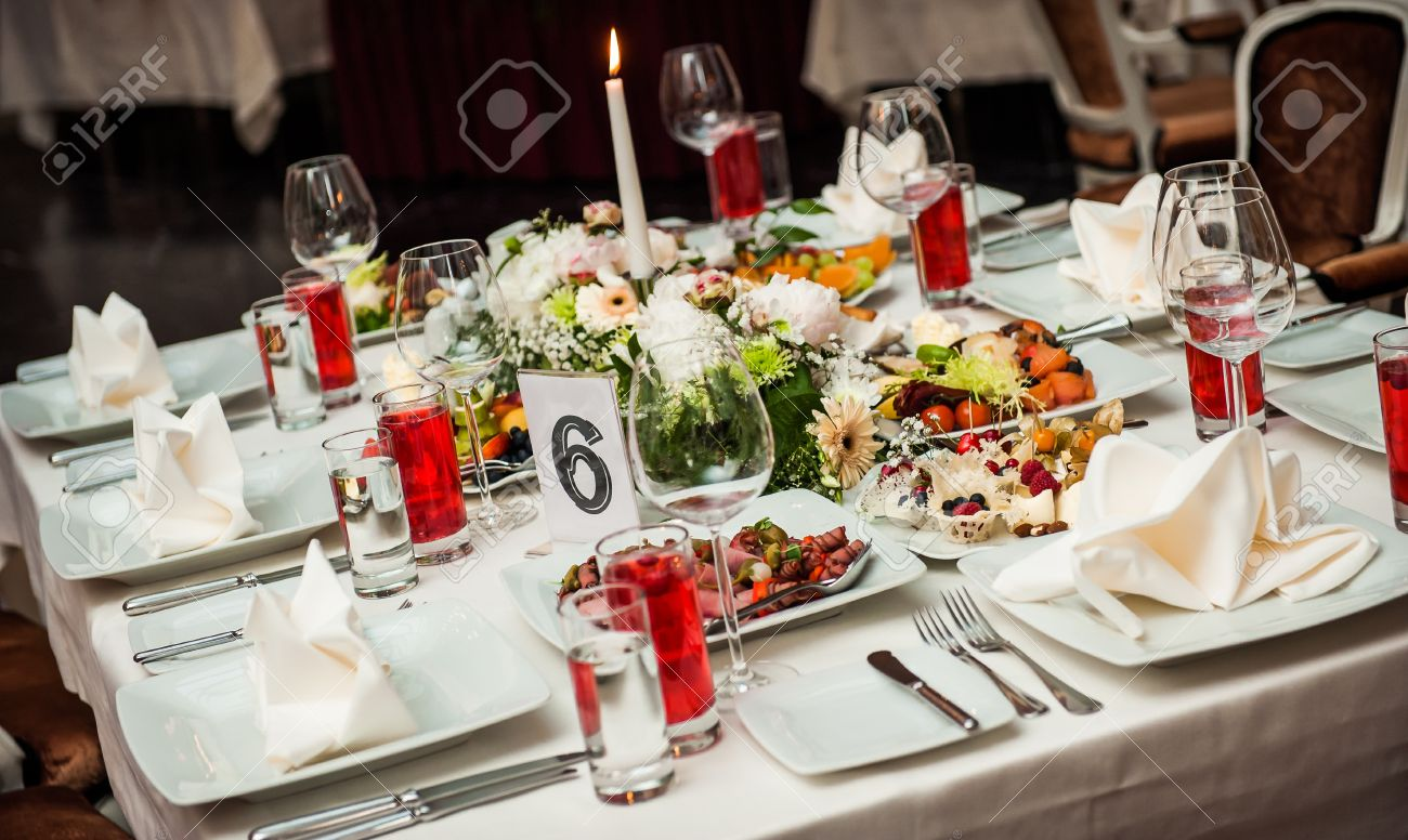 Ordinary Banquet Table Setting Part - 8: Luxury Banquet Table Setting At Restaurant Stock Photo - 15696186