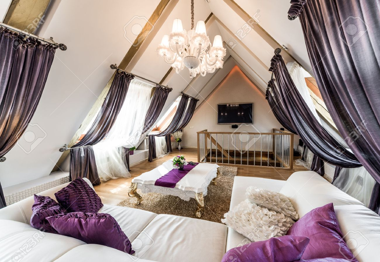 Interior of fashionable living room in the attic Stock Photo - 29274519