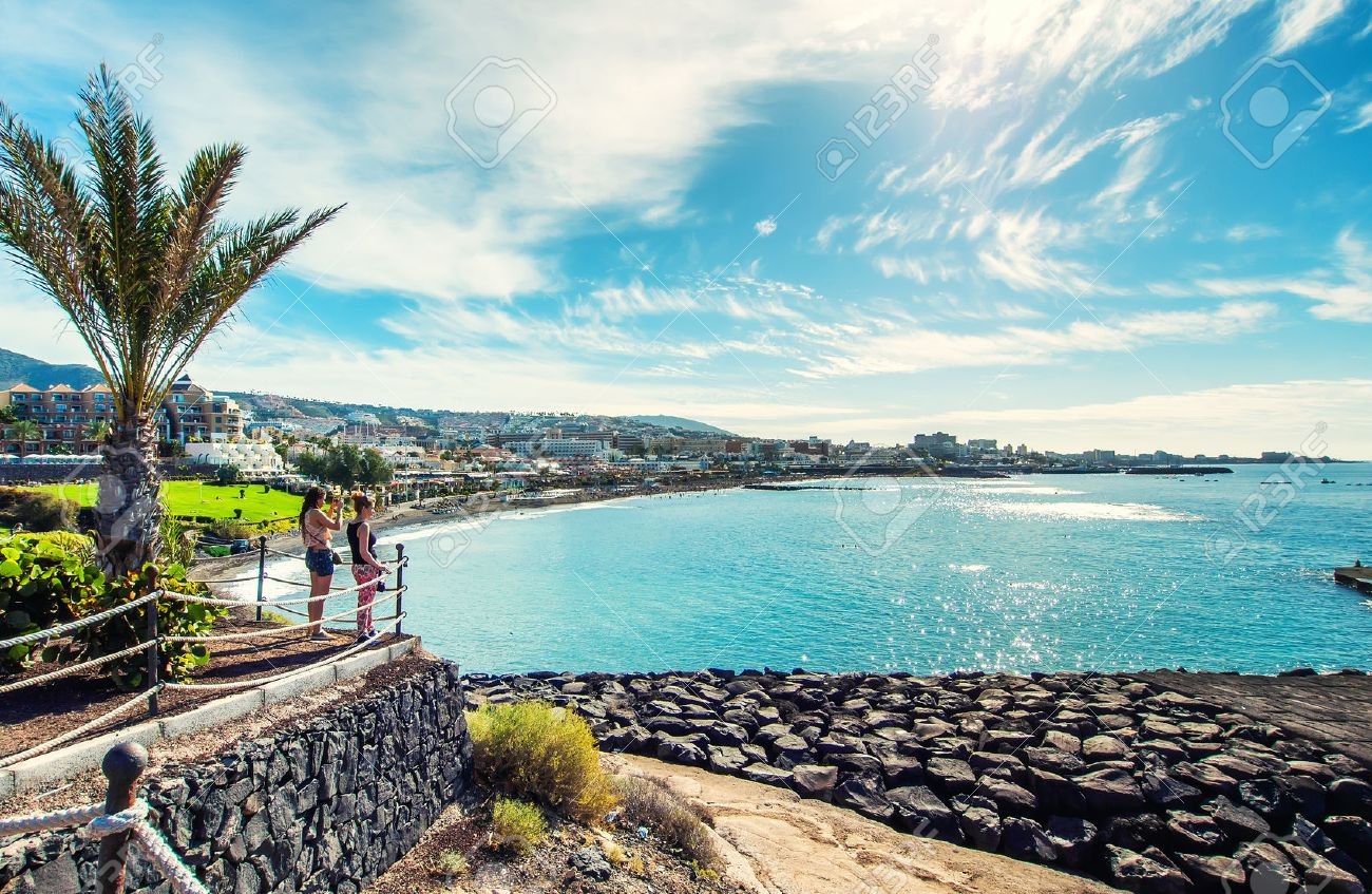 Tenerife, Canary Islands- December 20, 2014: Picturesque view to the Fanabe beach in Costa Adeje. Tenerife. Canary Islands. Spain - 45925266