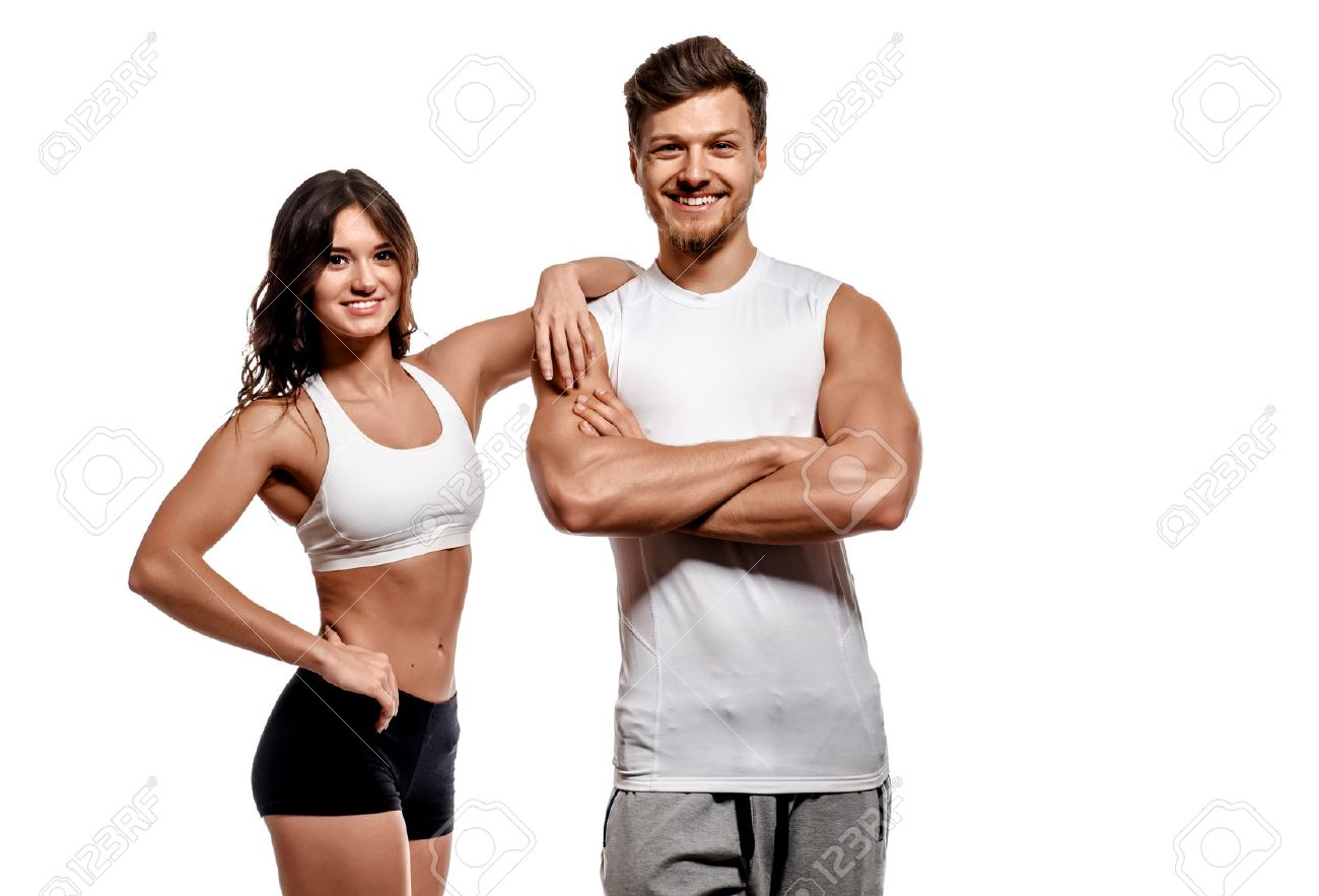Young and beautiful athletic woman and man isolated on white background Stock Photo - 48512078