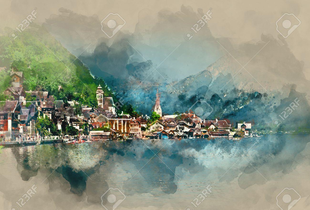 Hallstatt village, oldest village in Austria. Digital watercolor painting - 56640639