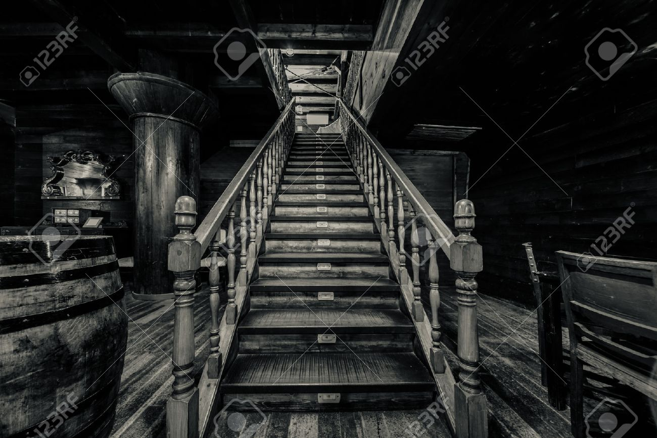 Wooden Staircase Interior Of Old Pirate Ship Black And White Image Stock Photo