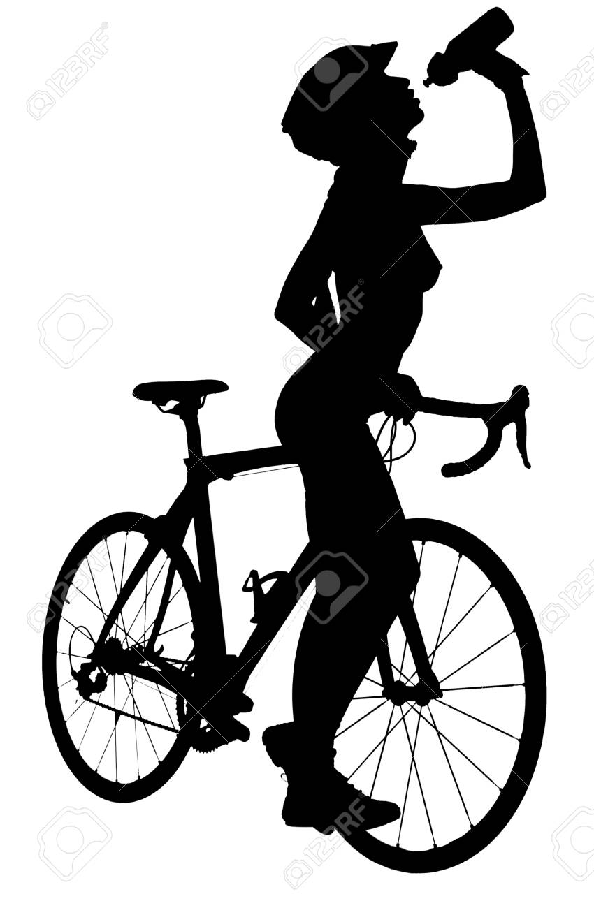 Picture of naked woman on a bicycle