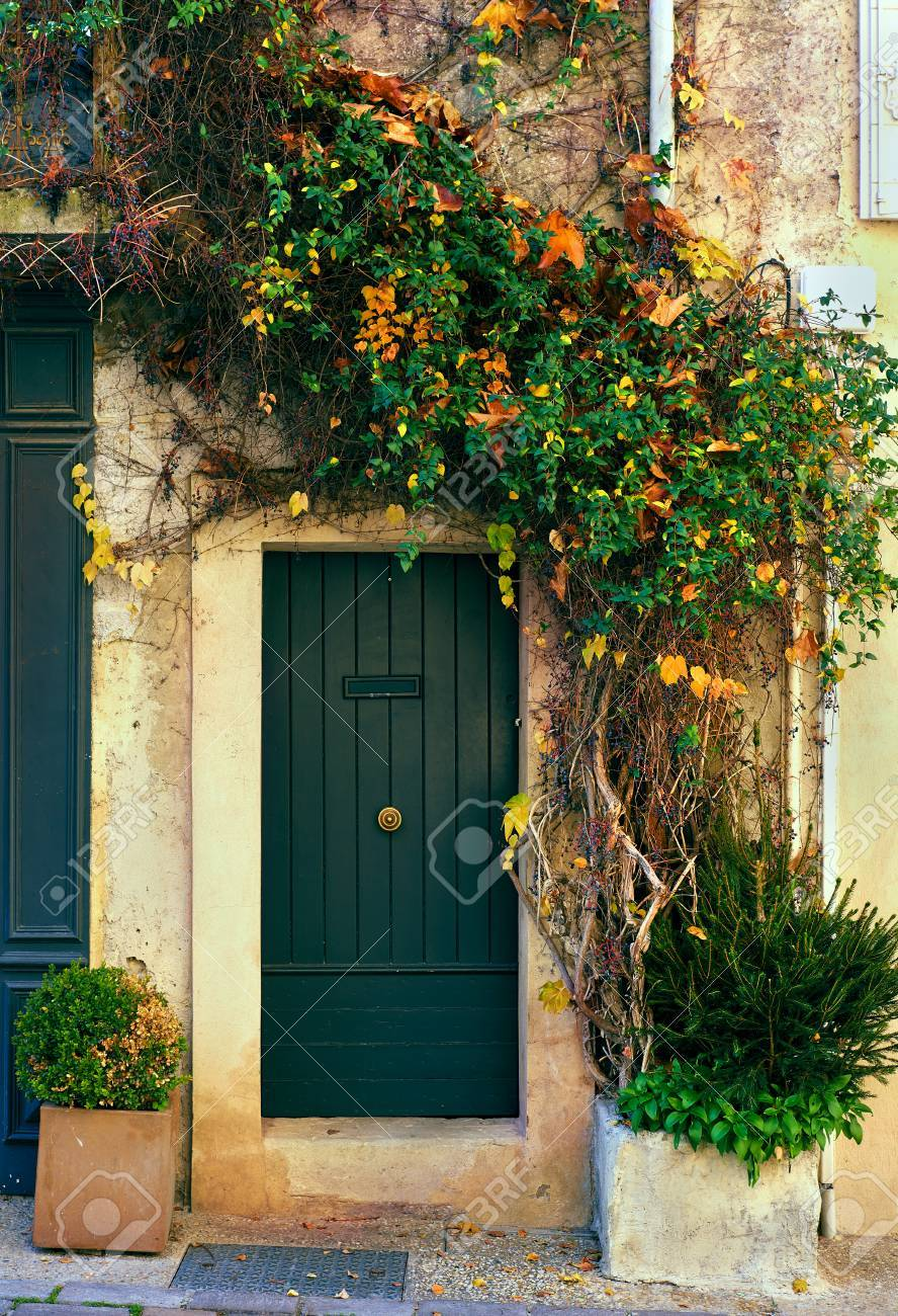 Retro Wooden Door Outside Of An Old French House Covered With A  Multicolored Ivy Stock Photo