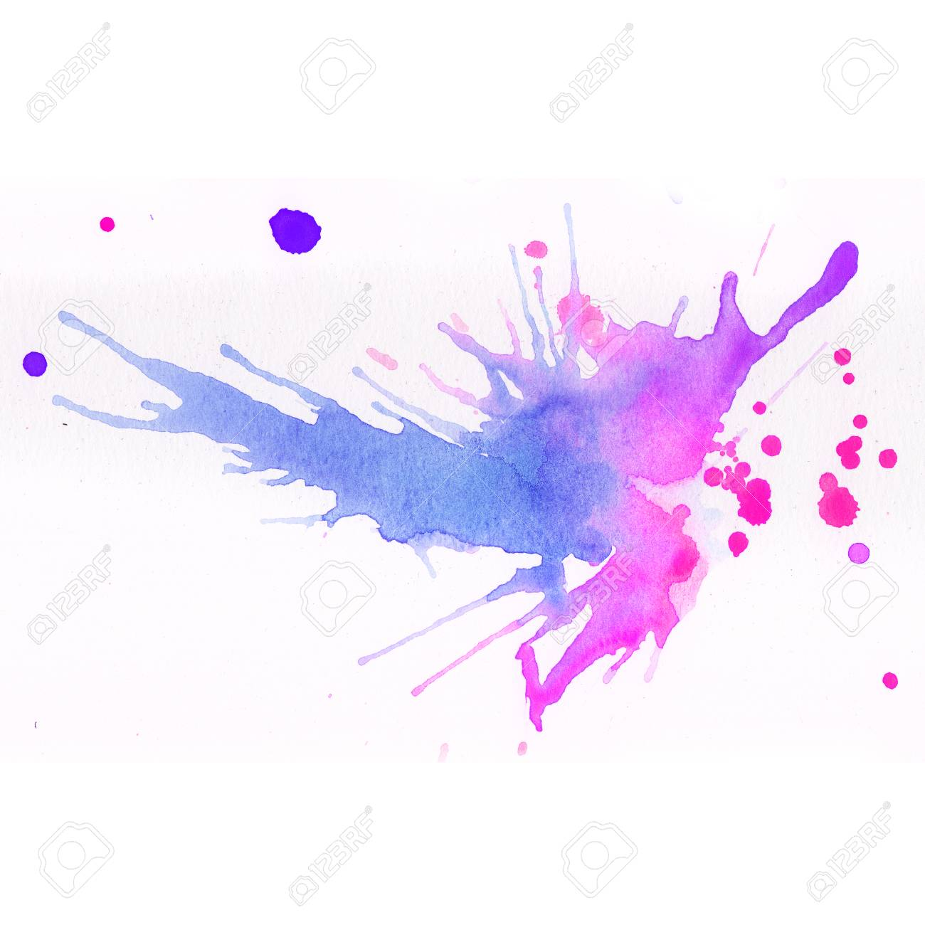 Colorful watercolor splashes over white background pink blue and violet colors stock photo