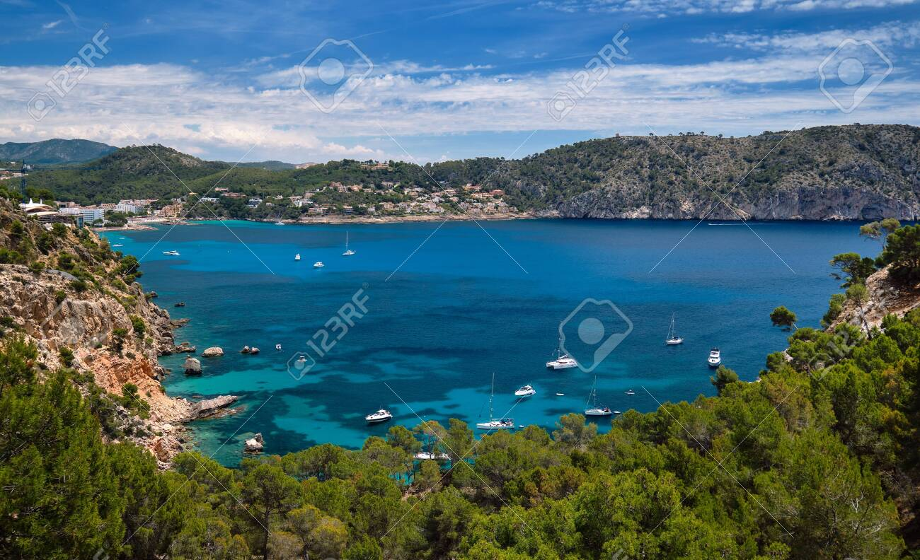 Above view turquoise bay full of moored luxury yachts motorboats in the Mediterranean Sea, picturesque Cala Blanca Andratx, rocky mountains lush greenery Mallorca, Balearic Islands, Spain - 130335186