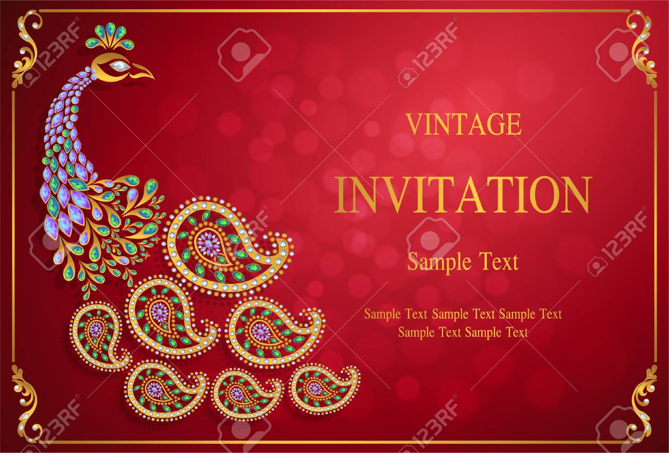 Wedding Invitation Card Templates With Gold Patterned And Crystals ...