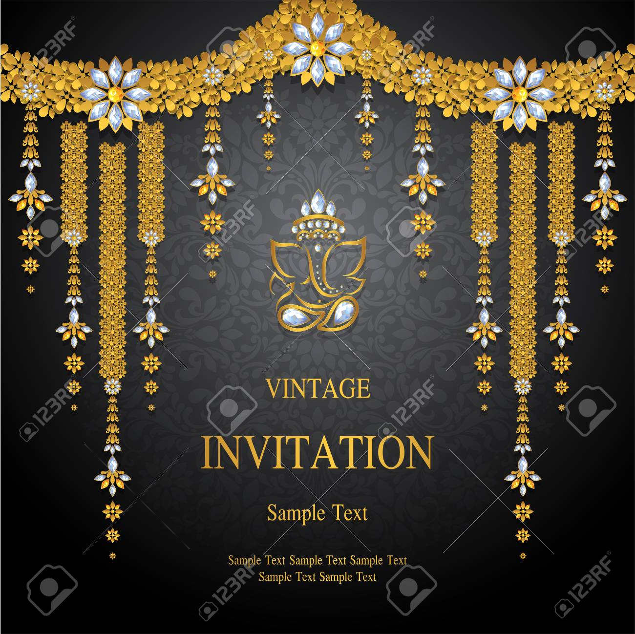 Wedding Invitation card templates with gold patterned and crystals on background color. - 89111522