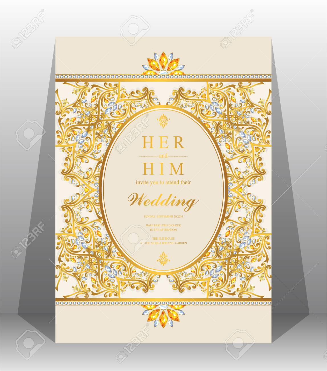 Wedding Invitation Card Templates With Gold Patterned And Crystals On Background Color