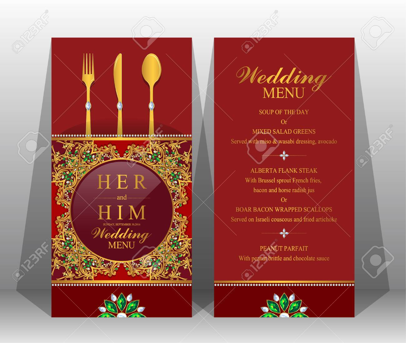 wedding menu card templates with gold patterned and crystals