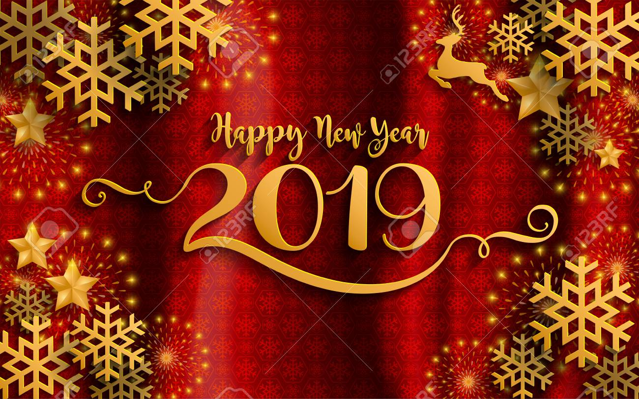 2019 Christmas.Merry Christmas And Happy New Year 2019 Background Beautiful